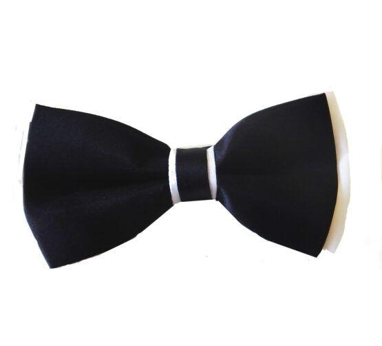 Pajarita negra nudo blanco