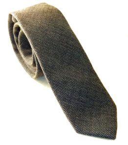 corbata gris lana jaspeada estrecha