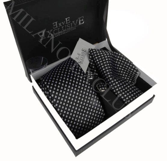 pack corbata pañuelo y gemelos negros