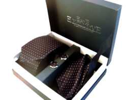 pack corbata negra con lunares
