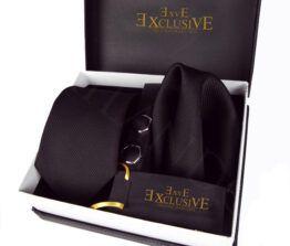 pack corbata, gemelos y pañuelo negro